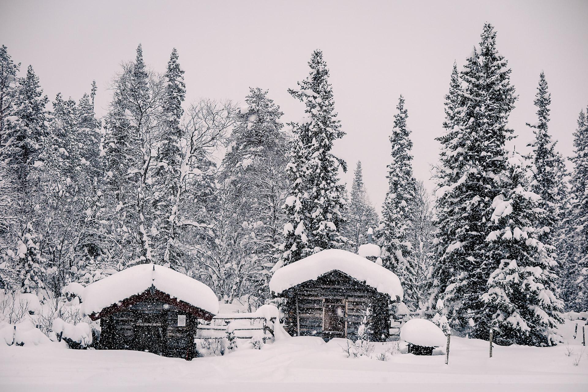 Grövelsjön i snöfall